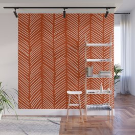 Rust Herringbone Wall Mural