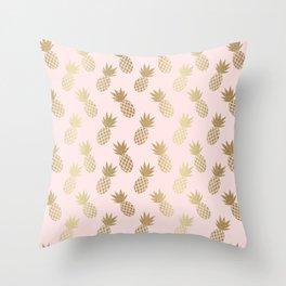 Pink & Gold Pineapples Throw Pillow