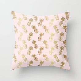 Pink & Gold Pineapples Pattern Throw Pillow