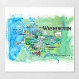 USA Washington State Illustrated Travel Poster Favorite Map Canvas Print