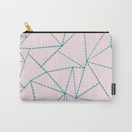 Ab Dotted Lines Blue on Pink Carry-All Pouch