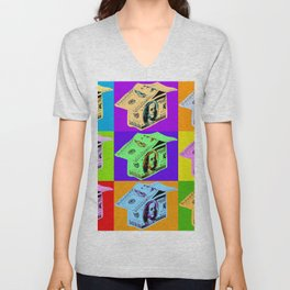 Poster with dollars house in pop art style Unisex V-Neck