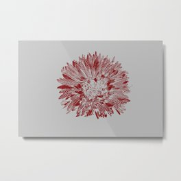 Wild Flower Stamped in Red Metal Print
