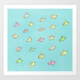 Flying Birdies Art Print