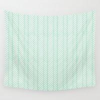 herringbone Wall Tapestries featuring Herringbone Mint by Project M