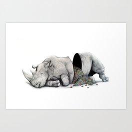 Rhino Slumber Art Print