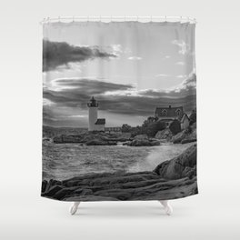 Annisquam Lighthouse Black and white Shower Curtain