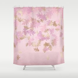 Blush & Gold Falling Leaves Shower Curtain