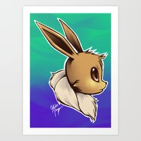 eevee Art Prints featuring EEVEE by goldhedgehog