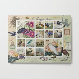 Coastal Bird Postal Collage Metal Print