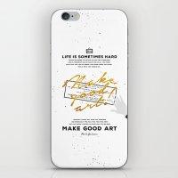 neil gaiman iPhone & iPod Skins featuring Make Good Art - Neil Gaiman by thatfandomshop