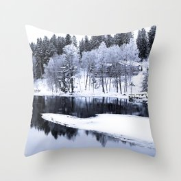 Snowy Winter River Throw Pillow