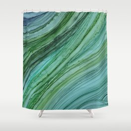 Green Agate Geode Slice Shower Curtain