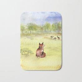 Red Fox Watching Wild Turkeys - Watercolor Bath Mat