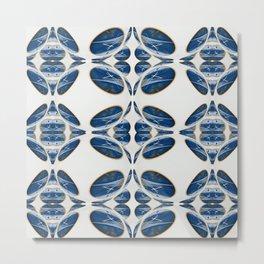 Snowblue Clock Pattern 1 Metal Print