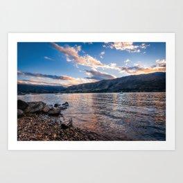 Sunset at Lake Wanaka, New Zealand Art Print