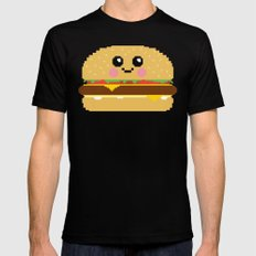 Happy Pixel Hamburger Mens Fitted Tee MEDIUM Black
