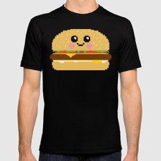 Happy Pixel Hamburger MEDIUM Mens Fitted Tee Black