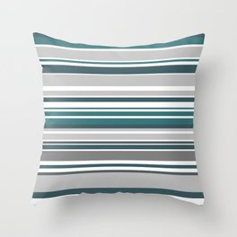 Turquoise Stripes Seamless Pattern Throw Pillow