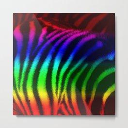 Rainbow Zebra Print Metal Print