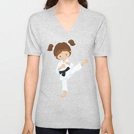 Cute Girl, Brown Hair, Karate Pose, Black Belt Unisex V-Neck
