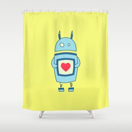 Cute Clumsy Robot With Heart Shower Curtain