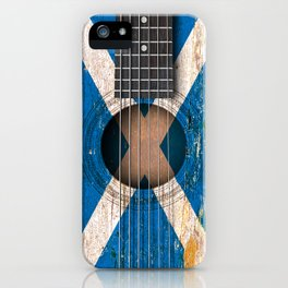 Old Vintage Acoustic Guitar with Scottish Flag iPhone Case