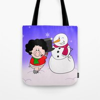 snowman Tote Bags featuring Snowman by Afro Pig