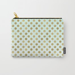 Mint Ombre Gold Dots Carry-All Pouch