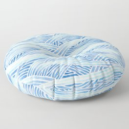 Blue sailboat, watercolor nautical ocean waves sea Floor Pillow