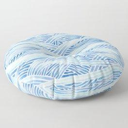 Blue sailboat, watercolor nautical ocean waves sea Floor Pillow