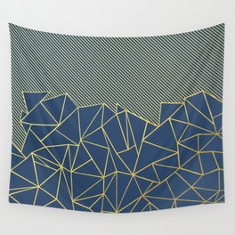 Ab Lines 45 Navy and Gold Wall Tapestry