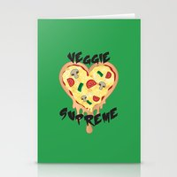 vegetarian Stationery Cards featuring Veggie Supreme - Deluxe Vegetarian Heart Shaped Pizza  by MagicCircle