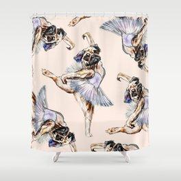 Pug Ballerina in Dog Ballet | Swan Lake  Shower Curtain