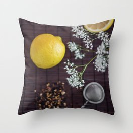 Lemon and tea Throw Pillow