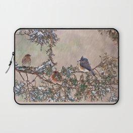 Three Little Birds in a Blizzard Laptop Sleeve