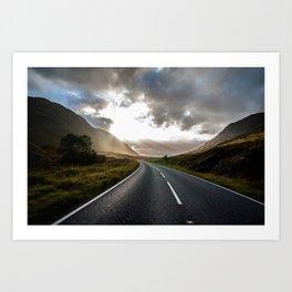 Sun rays in Scotland Art Print