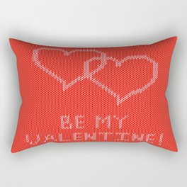 Knitted background with hearts Rectangular Pillow