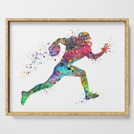 Football Player Sports Art Print Watercolor Print American Football Serving Tray
