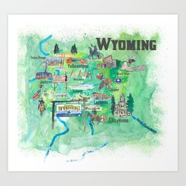 USA Wyoming State Illustrated Travel Poster Favorite Map Art Print