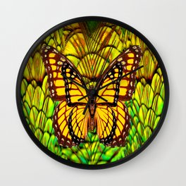 FANTASY YELLOW MONARCH BUTTERFLY LIME COLOR Wall Clock