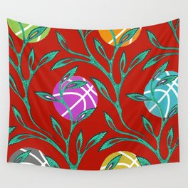 Basketball Flowers Wall Tapestry