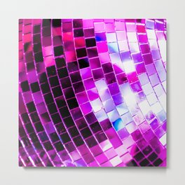Purple Disco Ball Metal Print