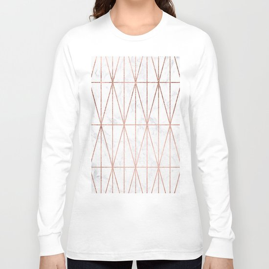 Modern geometric triangles faux rose gold pattern on white marble Long Sleeve T-shirt