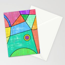 Colorful geometric abstract print, primary colors print Stationery Cards