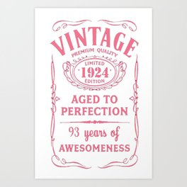 Pink-Vintage-Limited-1924-Edition---93rd-Birthday-Gift Art Print