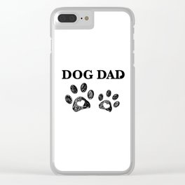 Paw print with hearts. Dog dad text. Happy Father's Day background Clear iPhone Case
