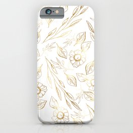 Hand drawn white gold foliage floral illustration iPhone Case
