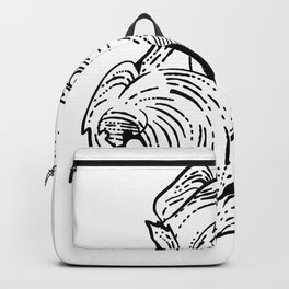 Airedale Terrier Head Etching Black and White Backpack