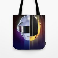 daft punk Tote Bags featuring Daft Punk by Alevan
